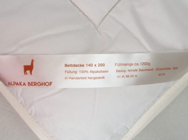Pflegeanleitung für Bettdecke mit Alpaka Faser